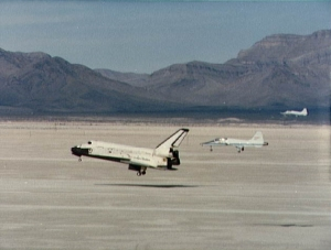 Space Shuttle Flight STS-3 Landing flanked by two Northop T38s