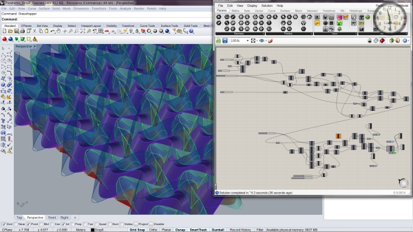 A view of the parametric model I created to dial in the design parameters for our waffle panel fabrication.