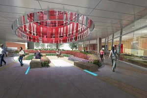 HDR Rendering of the pedestrian plaza below the ellipse.  Window panels are colored red and white in keeping with the University of Maryland's colors.