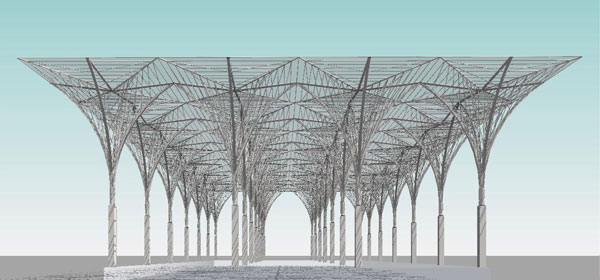 Tim Waldock detailed the process of recreating the Calatrava's Oriente Station using repeater elements.
