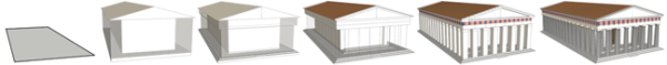 CityEngine's help file provides this example of a Greek temple constructed using CGA rules.
