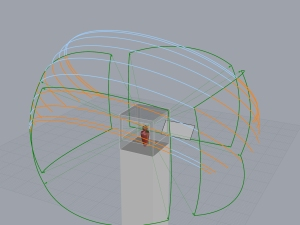 The windows surrounding the flight controller are projected onto the celestial sphere and the arcs divided into orange segments when the sun is visible and blue when it is shaded.