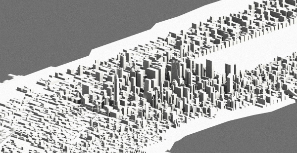 An overview of the 3d model of Manhattan used for the analysis.